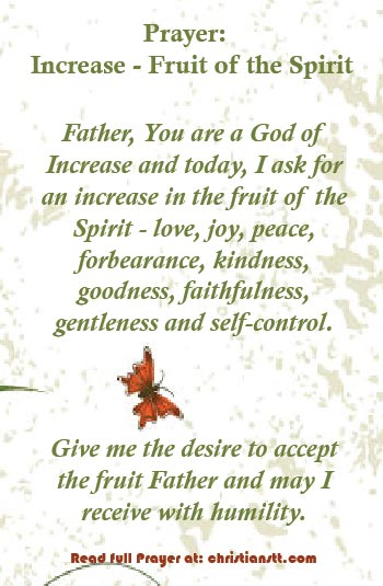 Prayer for increse fruits of the spirit