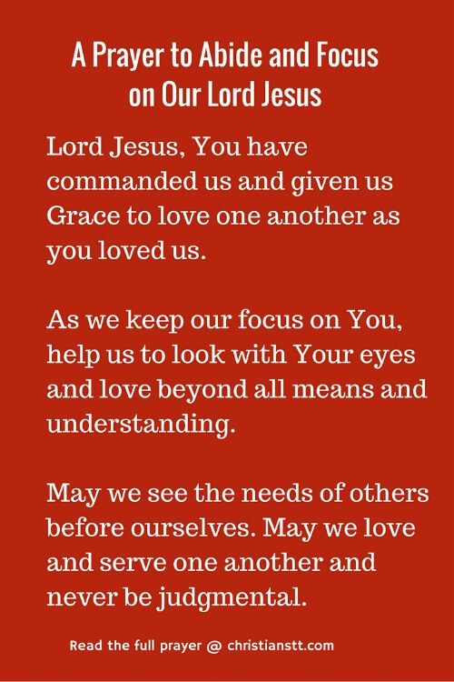 Prayer to Abide and Focus on Our Lord Jesus