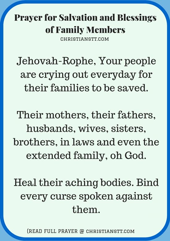 Prayer for Salvation and Blessings of Family Members