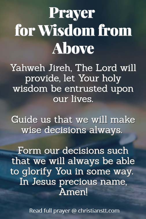 Prayer for wisdom from above