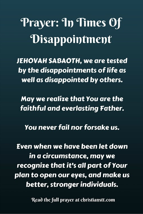 Prayer- In Times Of Disappointment