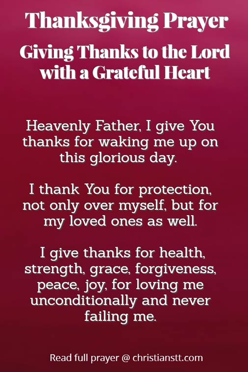 Thanksgiving Prayer: Giving Thanks to the Lord, with a Grateful Heart