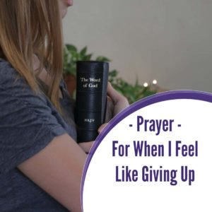 A Prayer for When I feel like giving up