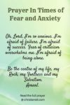 . Prayer in times of fear and anxiety
