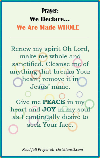 Prayer: We Declare we are made Whole