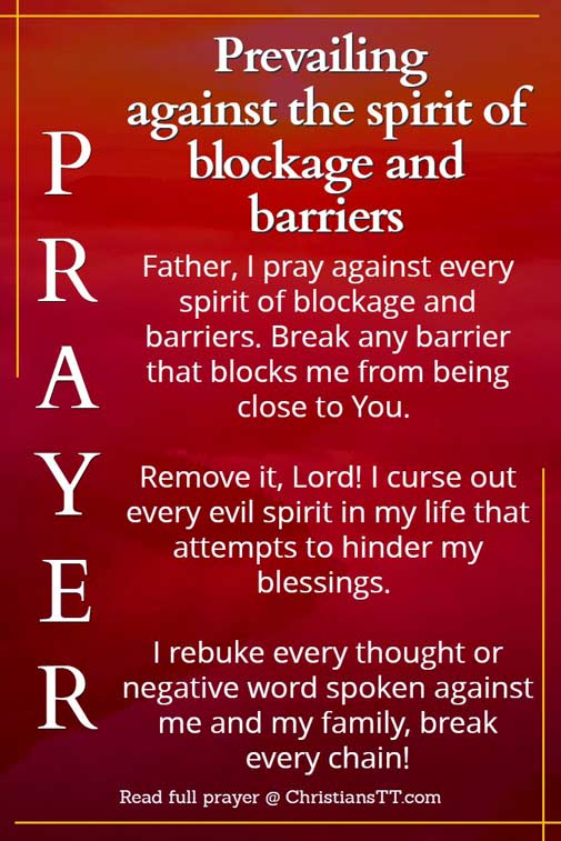 PRAYER AGAINST SPIRIT OF BLOCKAGE AND BARRIERS