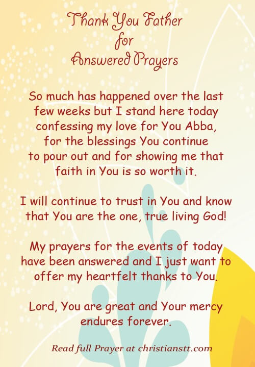 Prayer - Thank You Father for Answered Prayers