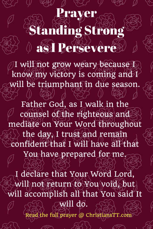 Prayer – Standing Strong as I Persevere