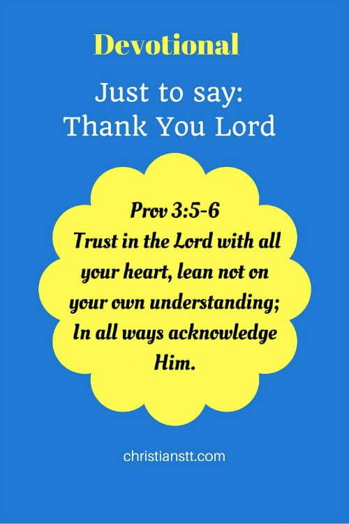 Devotional - Just to say- Thank You Lord