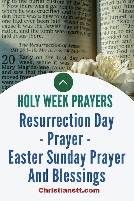 Resurrection Day pin Prayer for Easter Sunday