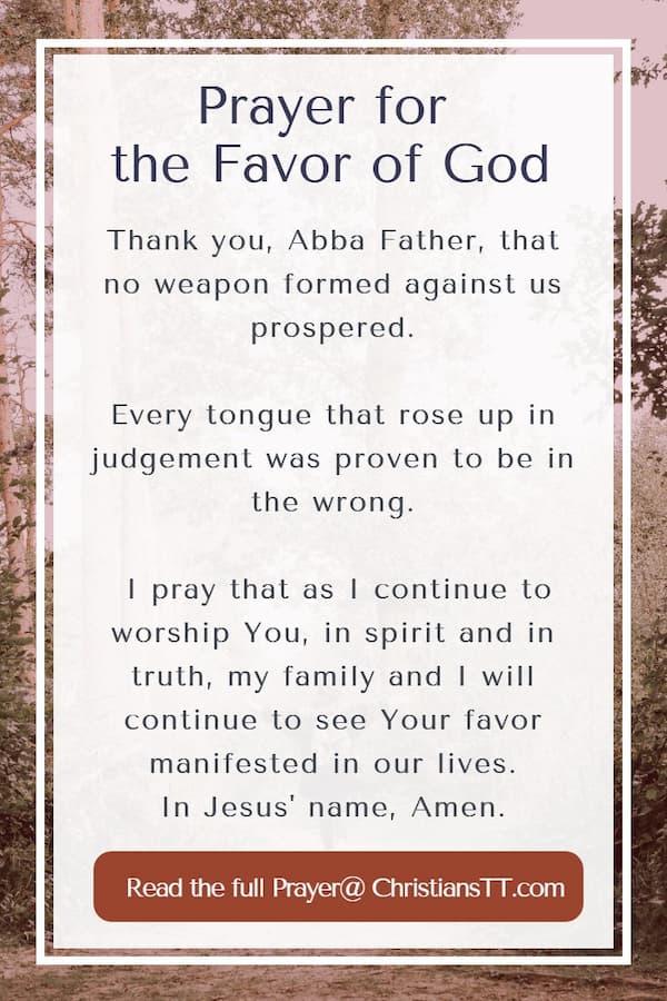 Prayer for the Favor of God