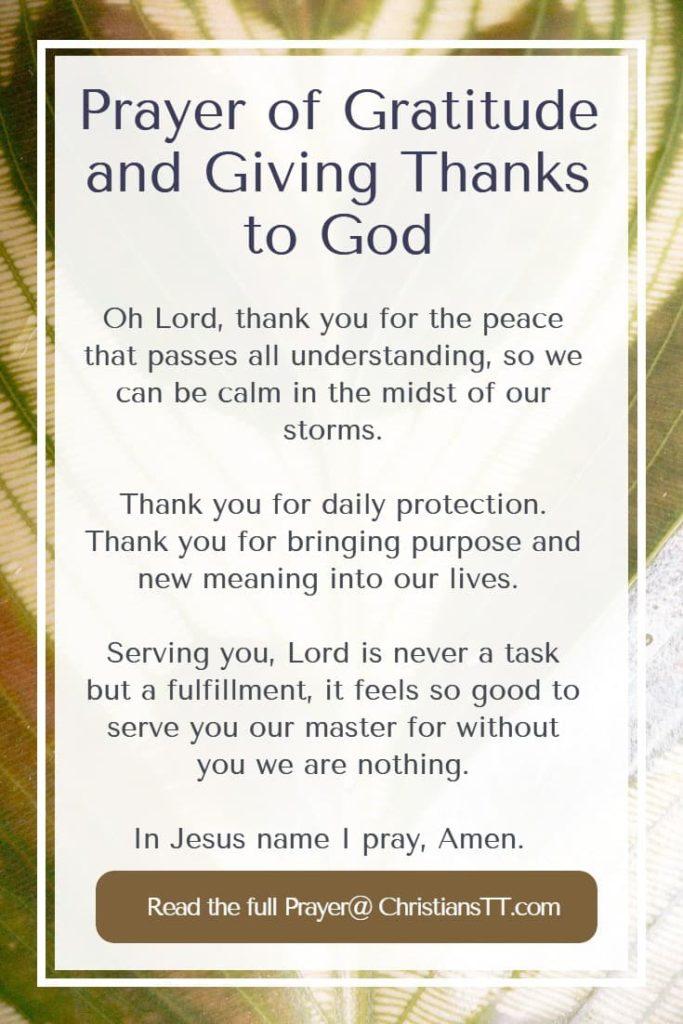 Prayer of Gratitude and Giving Thanks to God