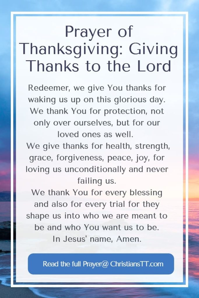 Prayer of Thanksgiving: Giving Thanks to the Lord