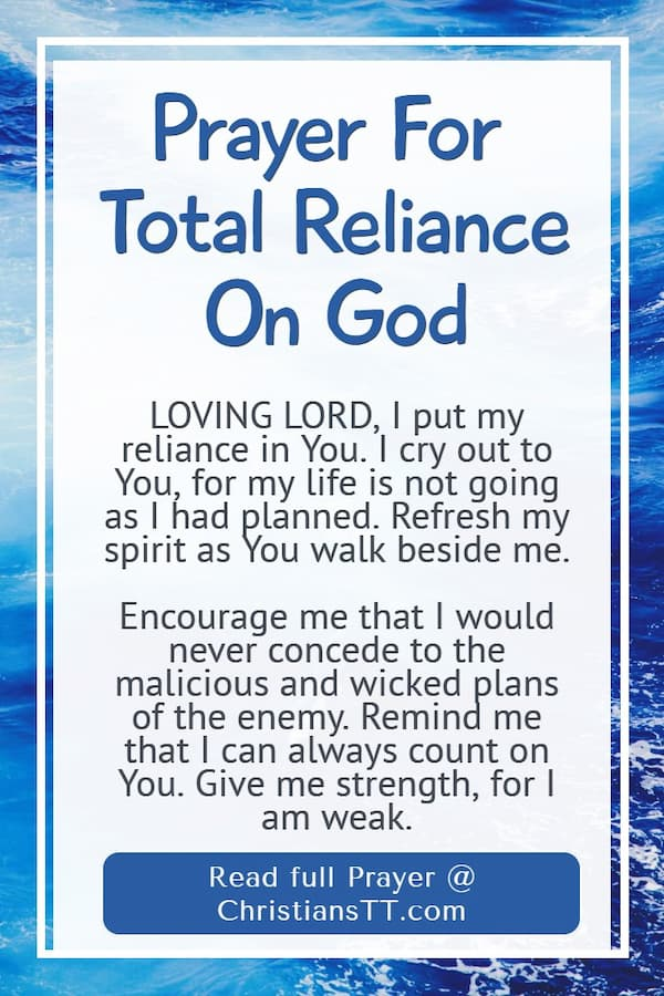 Prayer For Total Reliance On God