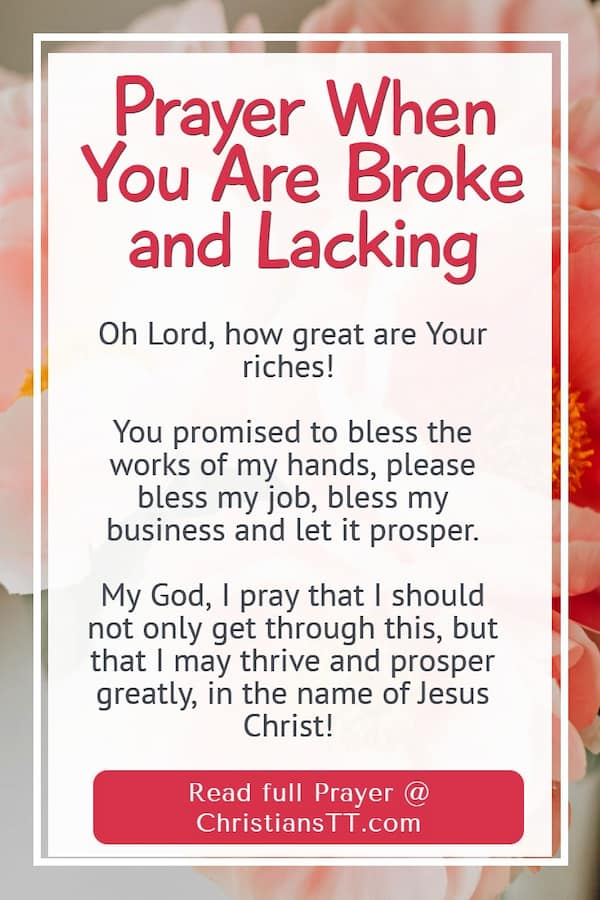 Prayer When You Are Broke and Lacking