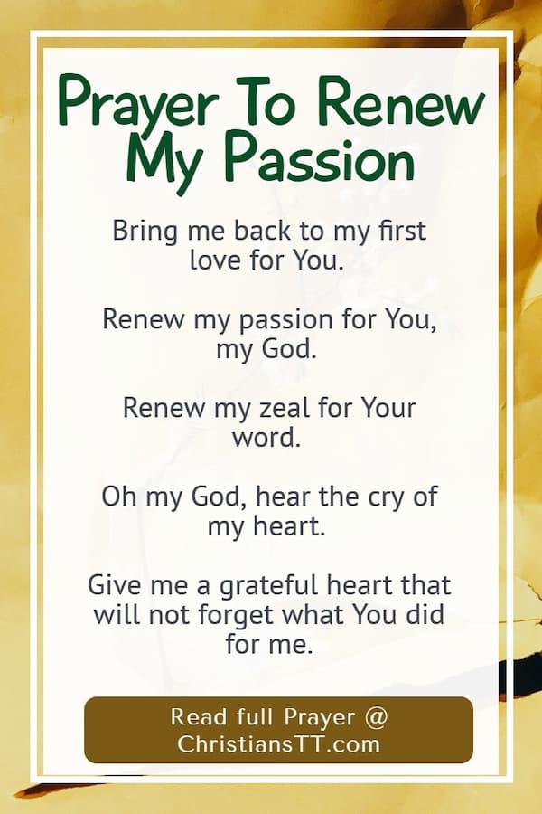 Prayer To Renew My Passion - First Love